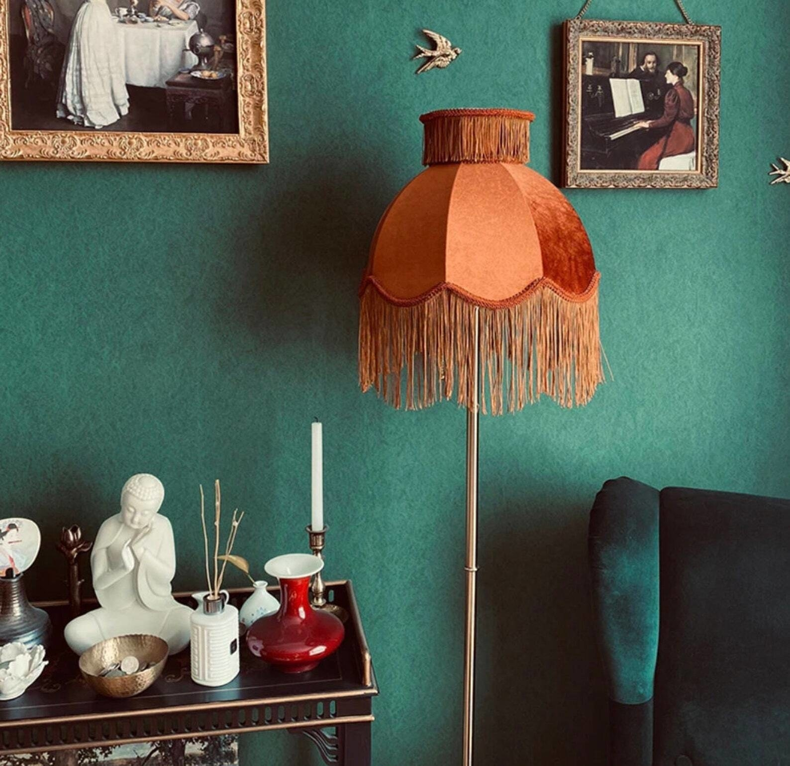 velvet tassel lampshade on standing lamp