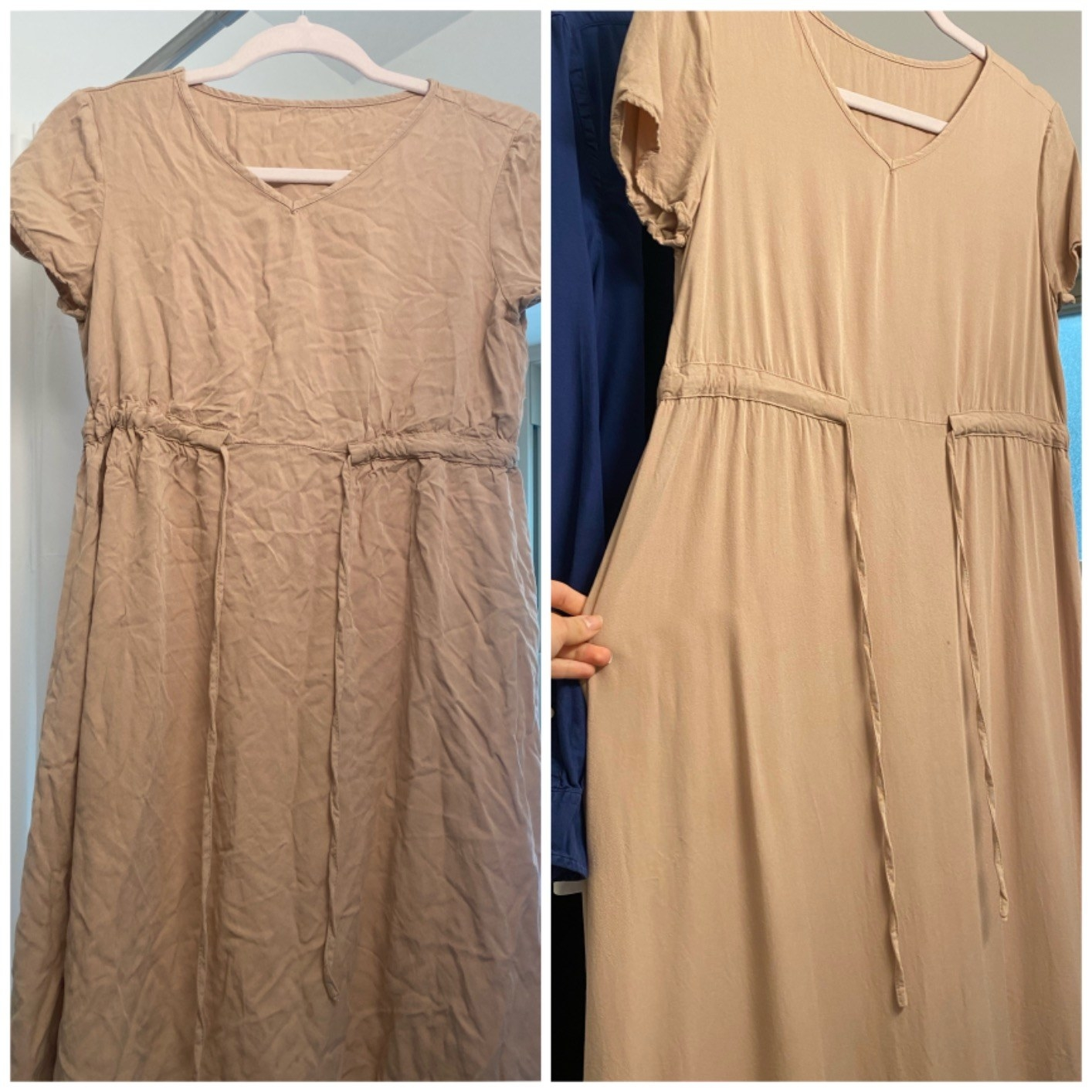a reviewer photo of a dress before and after using the spray