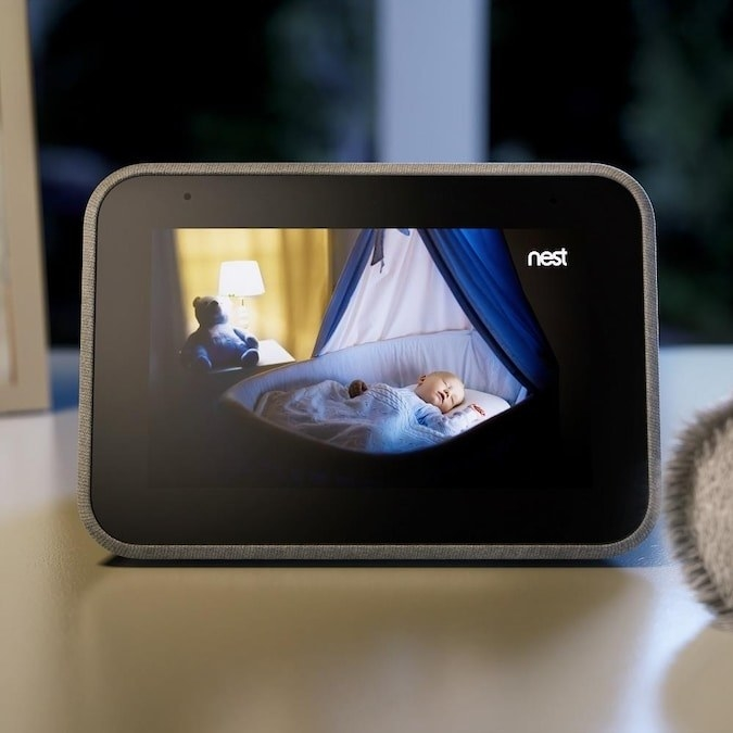 smart clock used as a baby monitor with nest camera