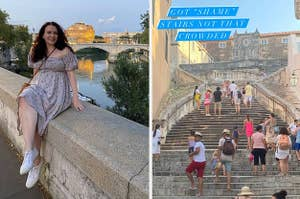 writer of the story on a bridge in Rome, the shame stairs from Game of Thrones with few tourists on it