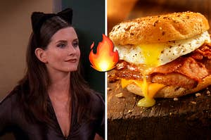 monica and an egg sandwich
