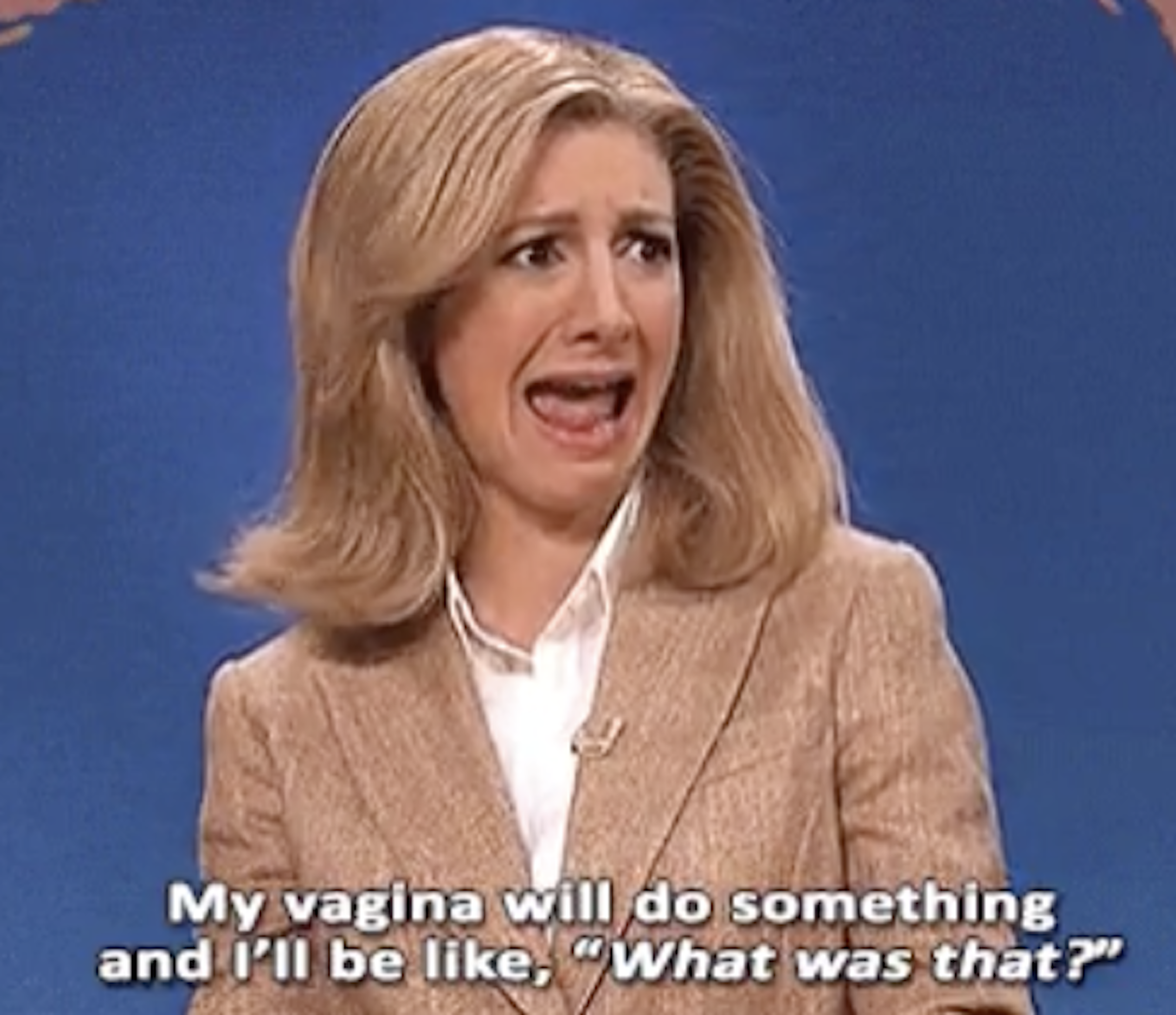 """Nasim Pedrad on SNL's Weekend Update, saying, """"My vagina will do something and I'll be like, 'What was that?'"""""""