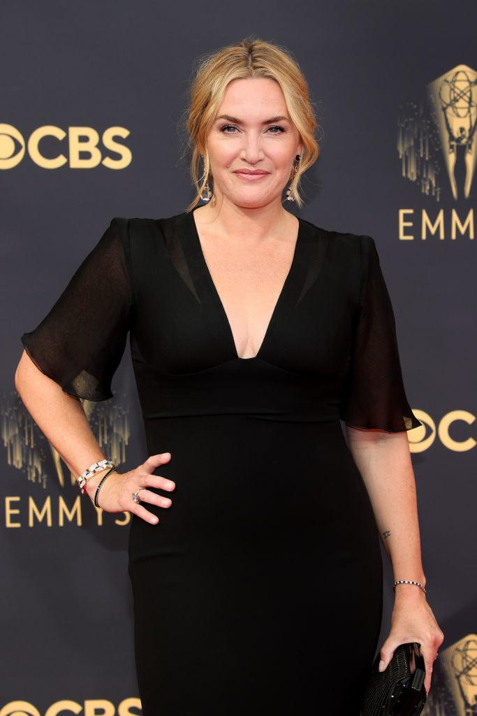 Winslet in black short-sleeved dress at the Emmys