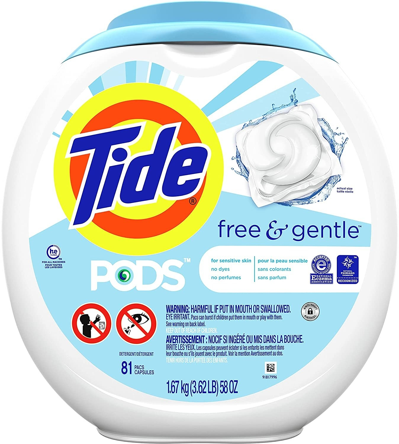 the white and blue Tide Pod packaging
