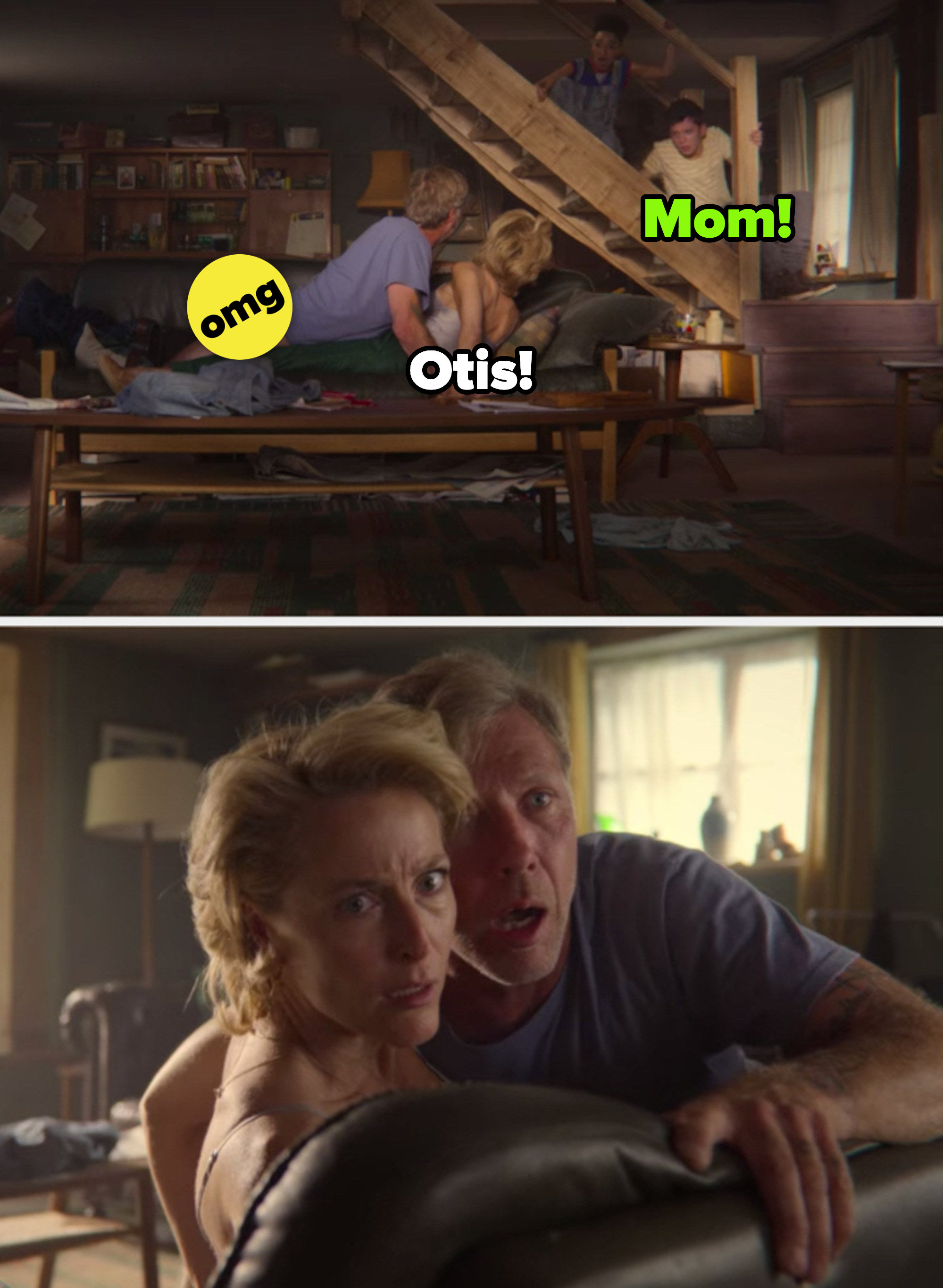 """Otis catching Jean and Jakob having sex in """"Sex Education"""""""