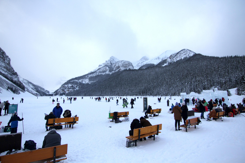 crowded frozen lake