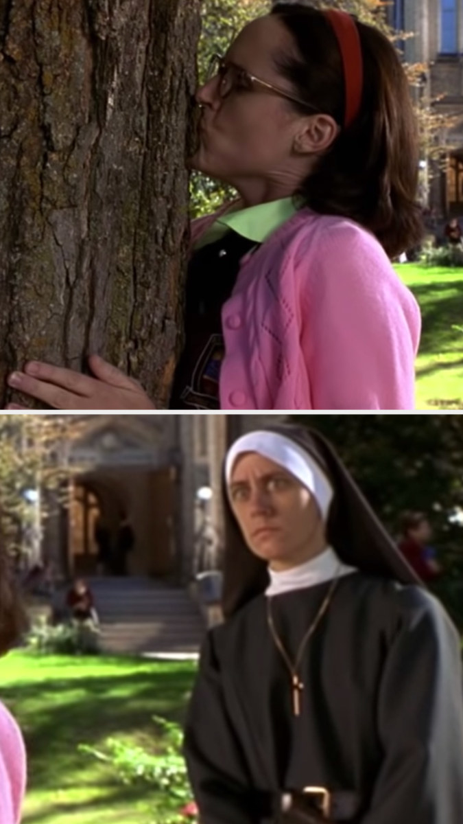"""Molly Shannon kissing a tree in """"Superstar"""" while a nun shockingly looks on"""