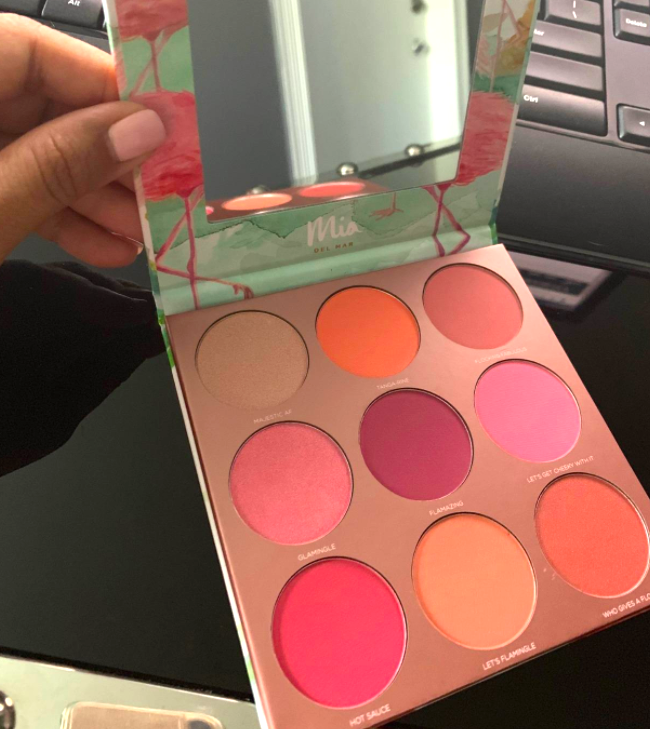 reviewer's hand holding the blush palette