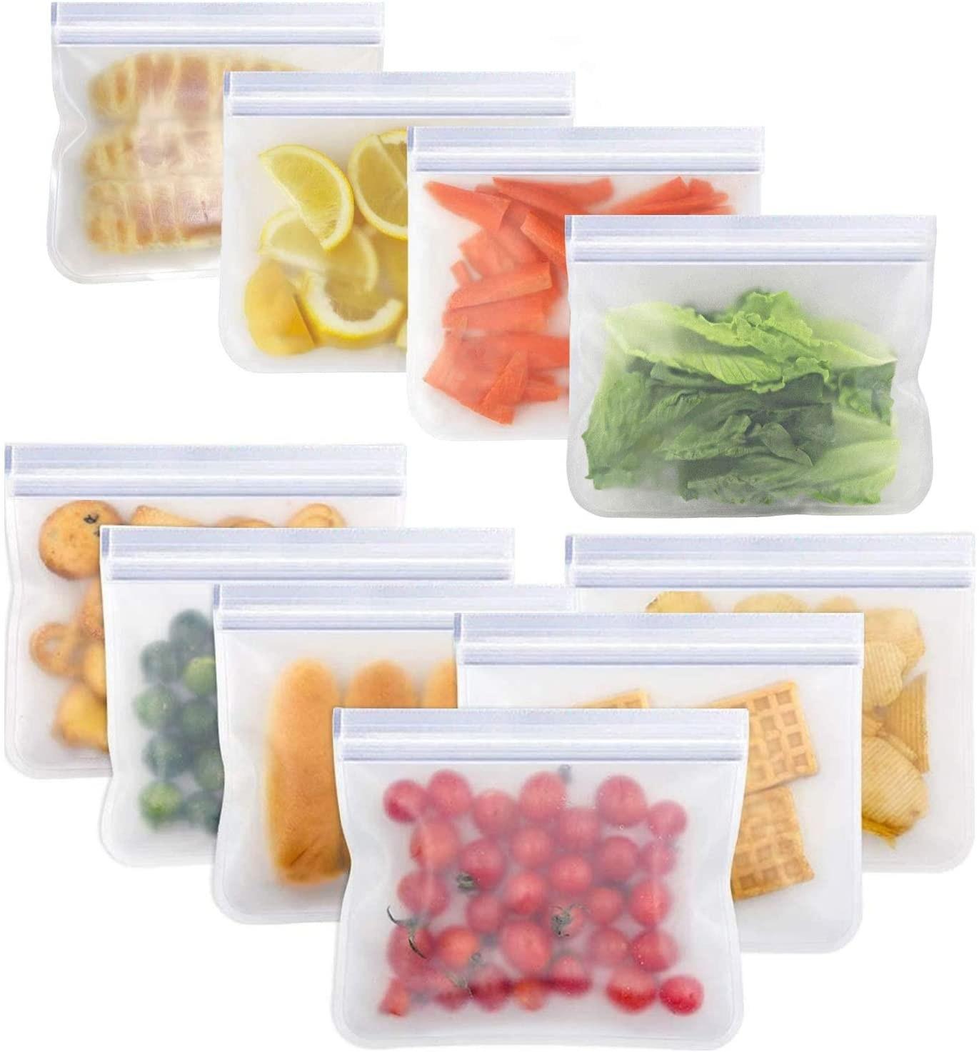 10 bolsas de almacenamiento reutilizables