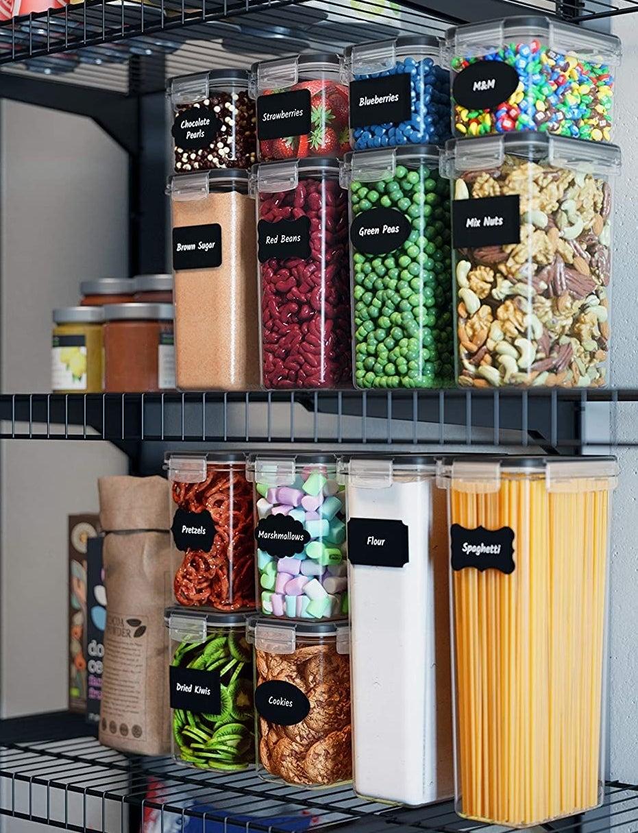 Juego de siete recipientes herméticos para almacenamiento de comida