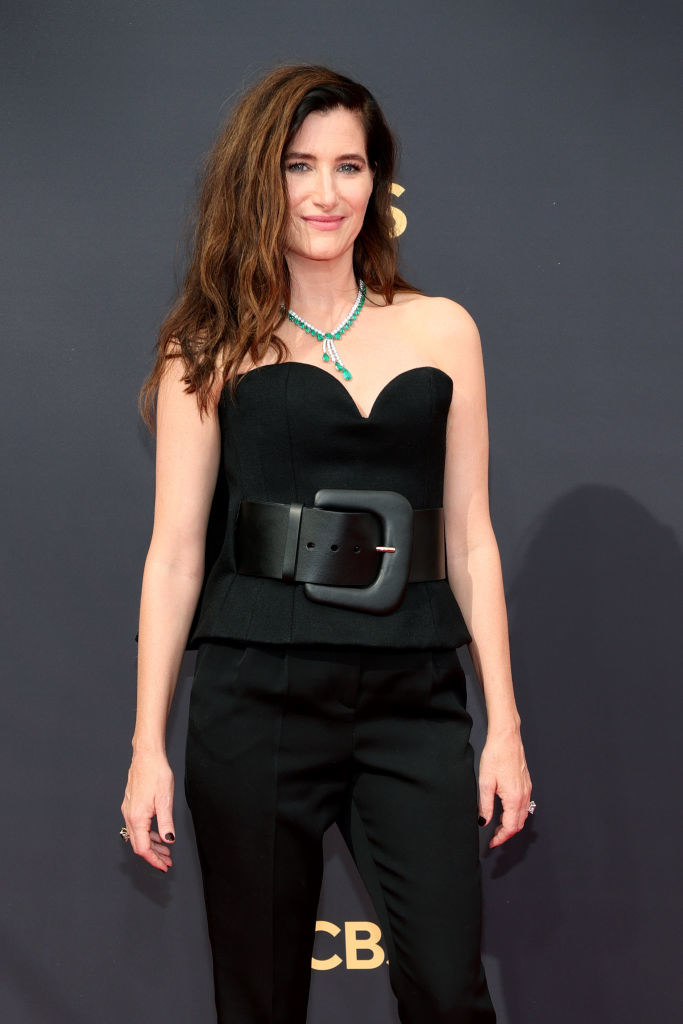 Kathryn wore a strapless jumpsuit with a massive belt