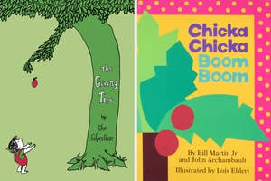 On the left, ThE giving Tree book by Shel Silverstein, and on the right, the book Chicka Chicka Boom Boom by Bill Martin Jr. and John Archambault