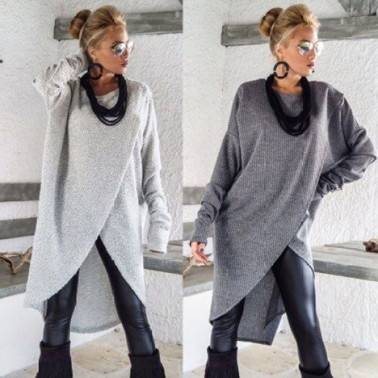 model wearing midi length sweater dress over leather leggings