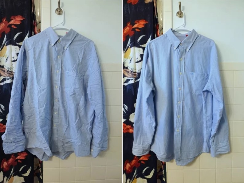 a shirt, before and after being treated