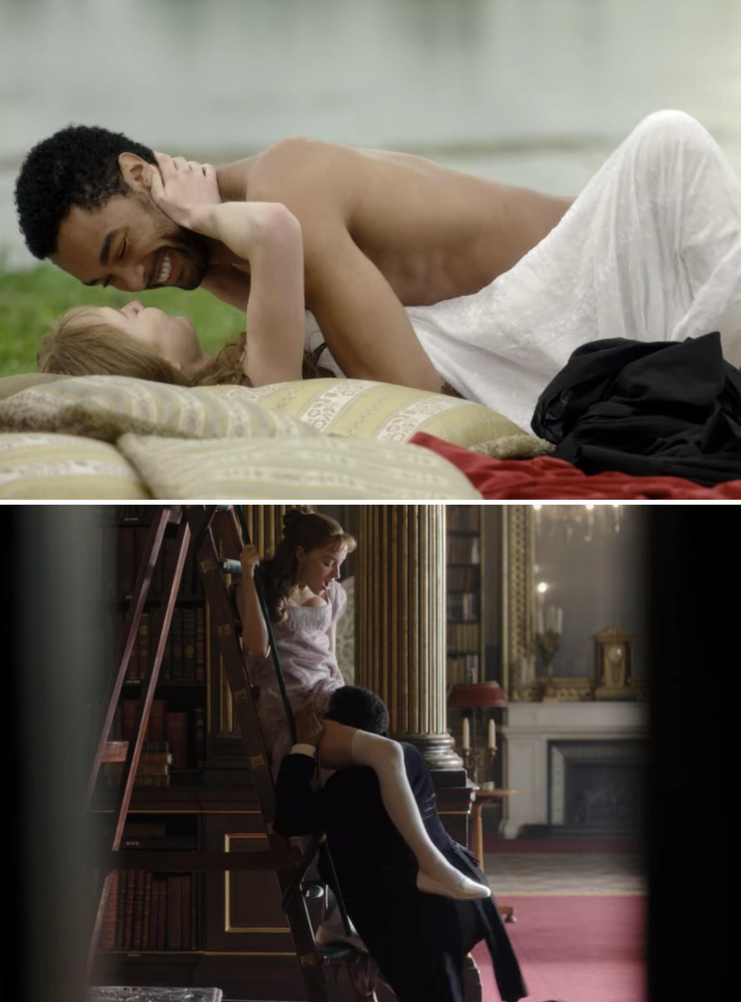 "Phoebe Dynevor andRegé-Jean Page in various sex scenes in ""Bridgerton"""