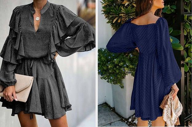 model in ruffled short dress, model in breezy shift dress with puffy sleeves