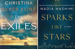 """(left) cover of """"the exiles;"""" (right) cover of """"sparks like stars"""""""
