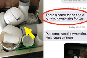 dirty dishes piled high in a sink, and a screenshot of a roommate offering their roomie some tacos and burritos