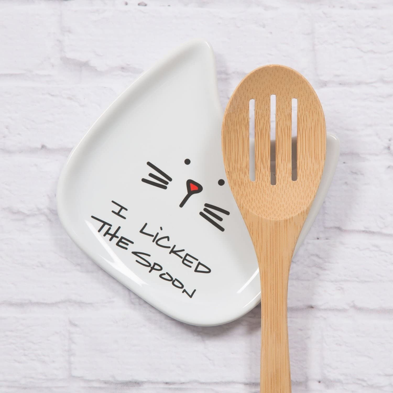 Soporte para cuchara con diseño de gato