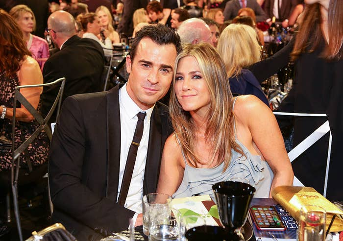 Justin Theroux (L) and Jennifer Aniston attend the 21st Annual Critics' Choice Awards