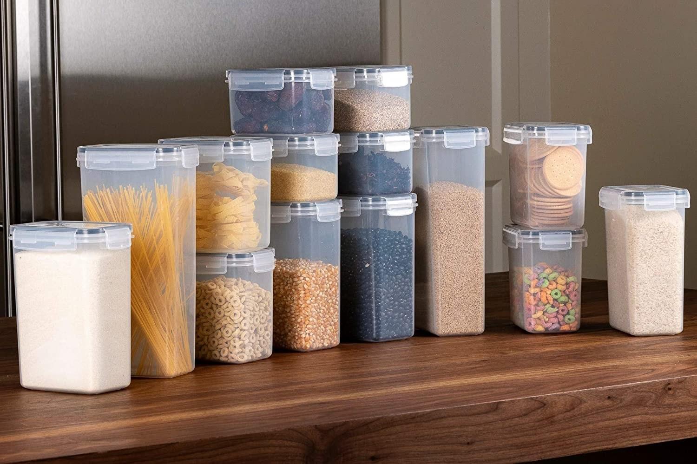 14 recipientes herméticos para almacenamiento de alimentos