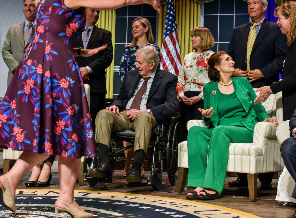 Descendants of past presidents pose for a photo