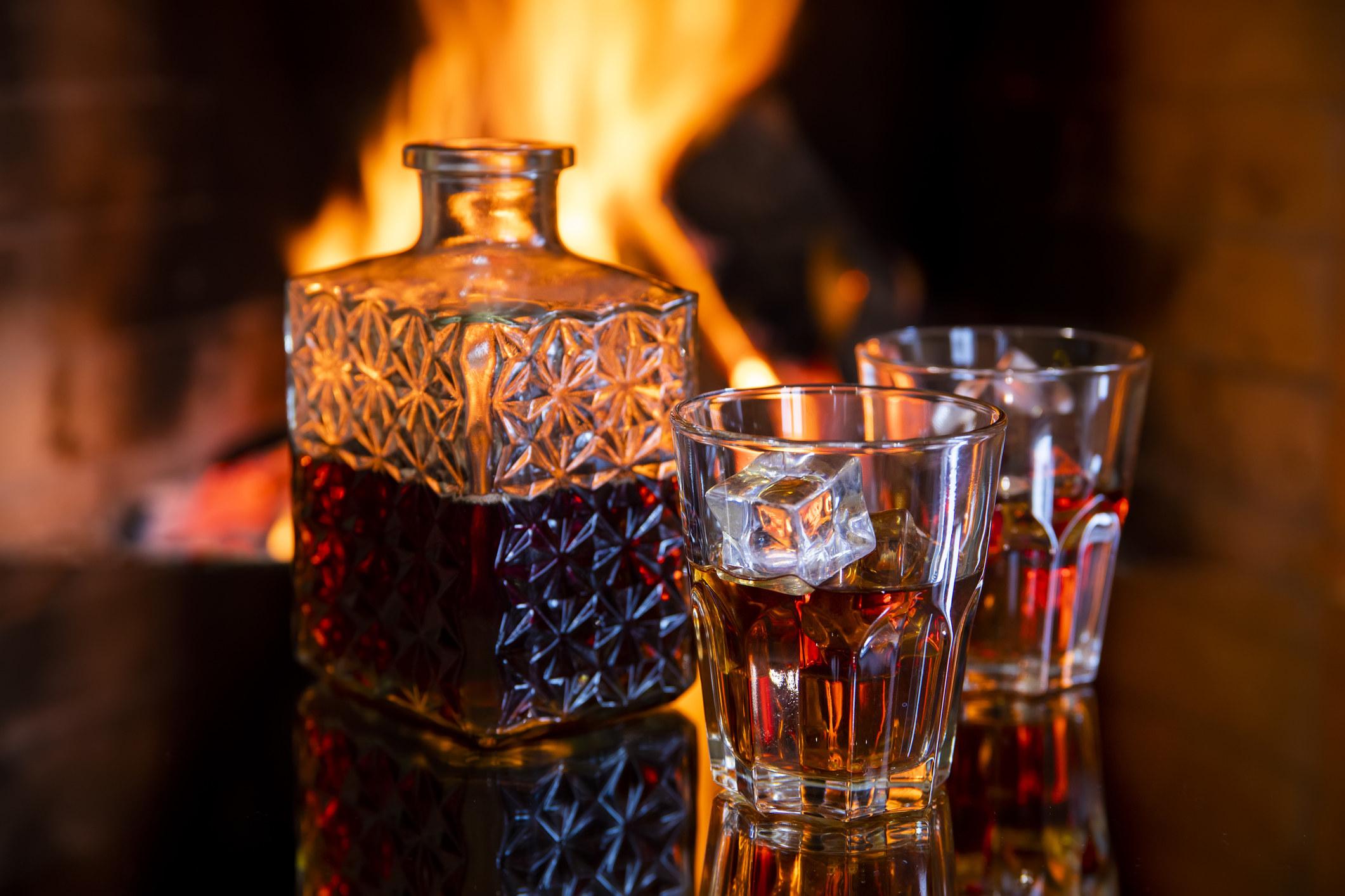 A crystal brandy decanter
