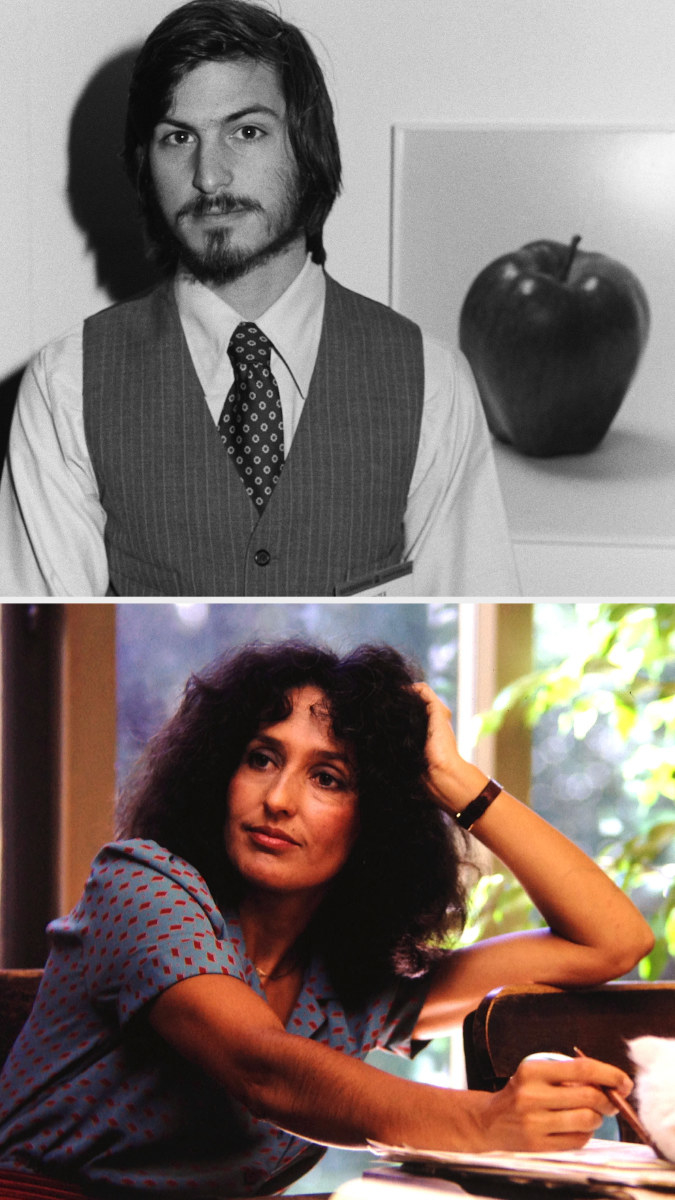 Jobs posing in front of an Apple image in 1977; Baez at home in the early '80s