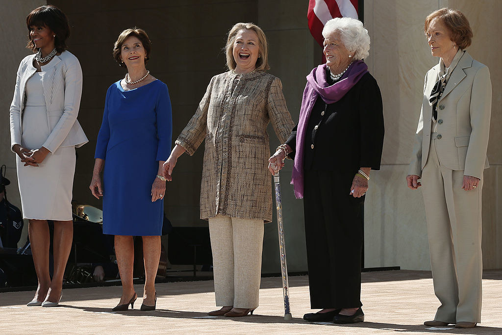 Five living first ladies stand in a row together