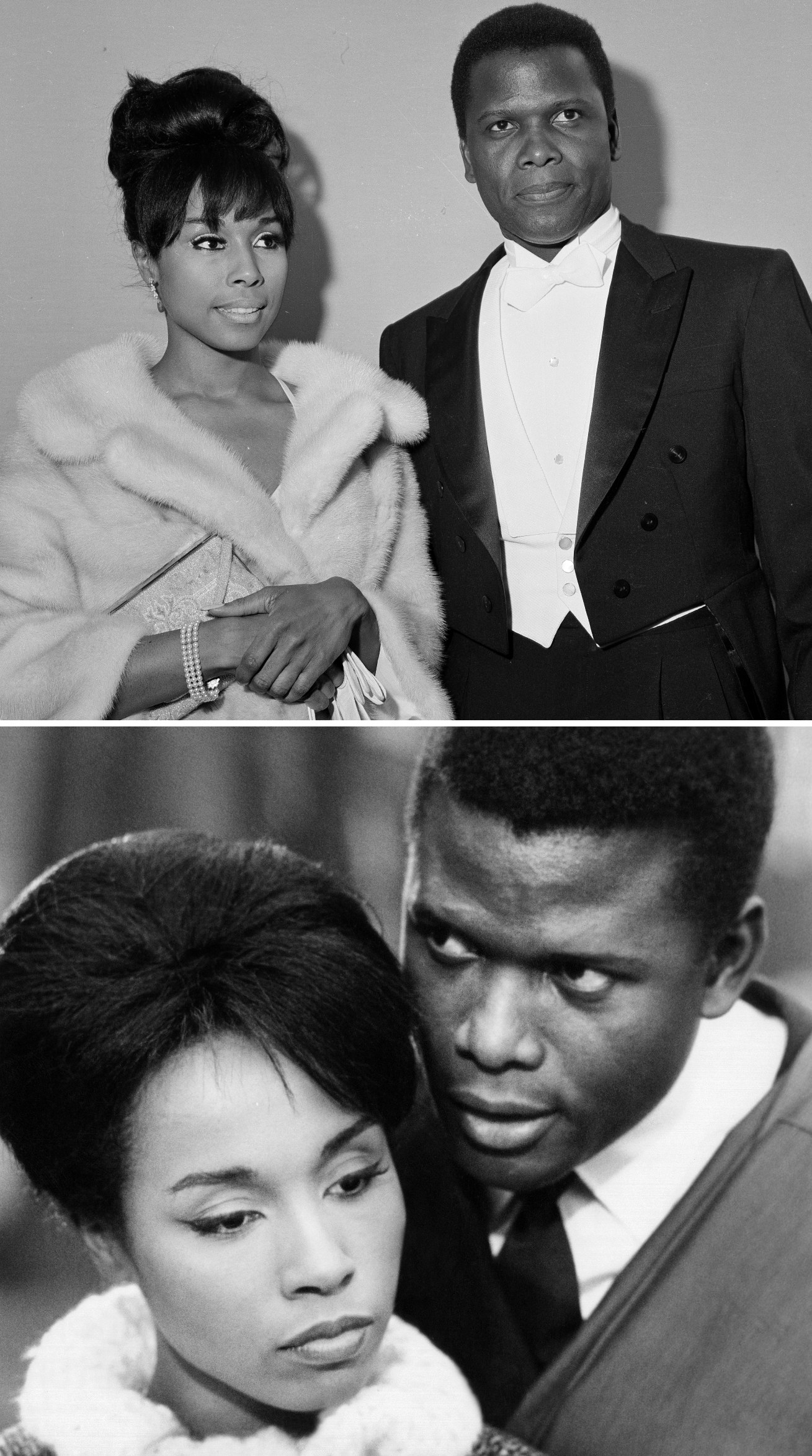 """Poitier and Carroll at the Academy Awards in 1964; Poitier and Carroll in """"Paris Blues"""""""