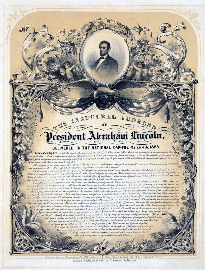 A copy of Lincoln's inaugural address