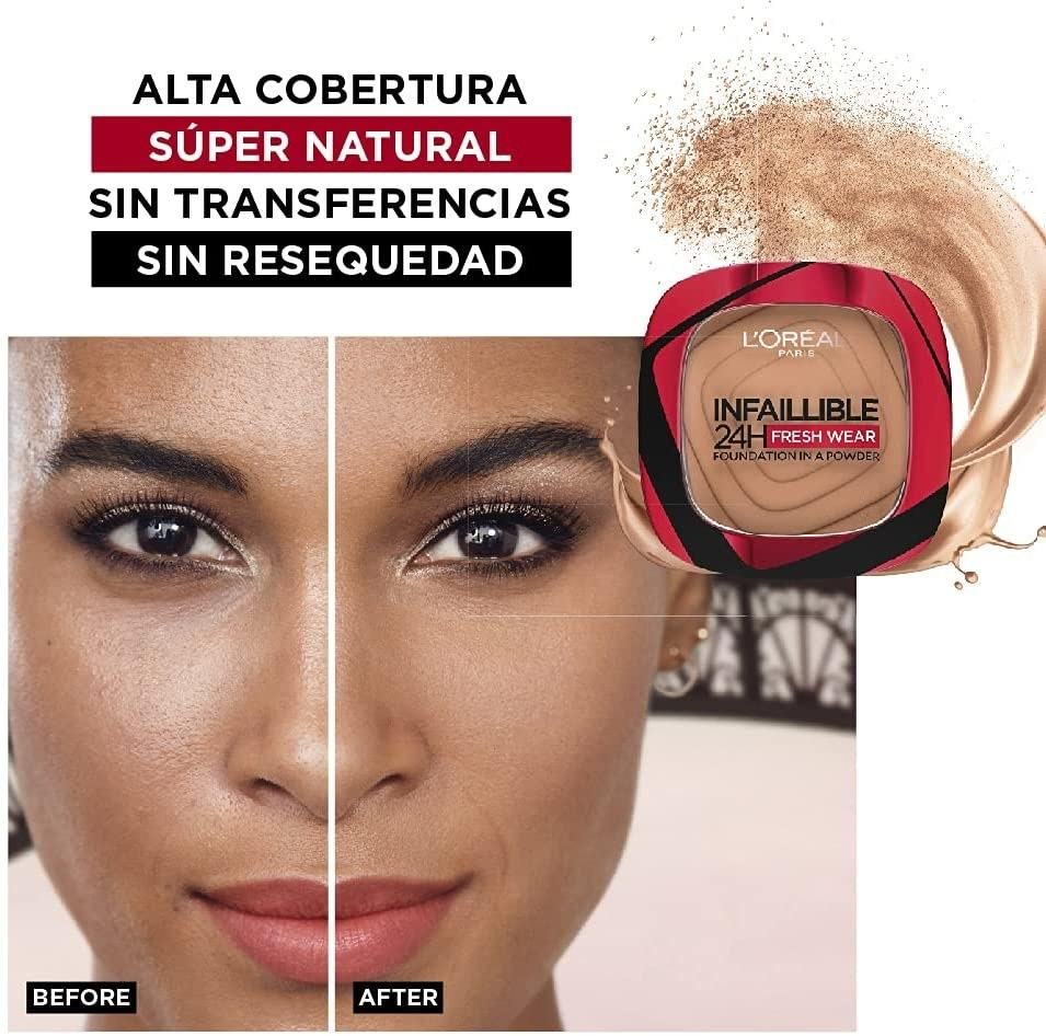 Maquillaje en polvo cobertura total