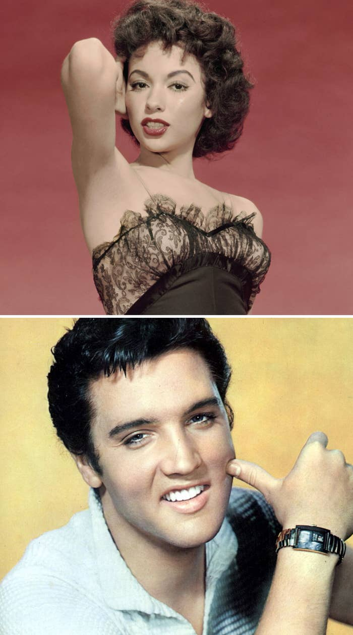 """Moreno posing for a still for """"The Vagabond King"""" in the late '50s; Presley posing for a portrait in the late '50s"""