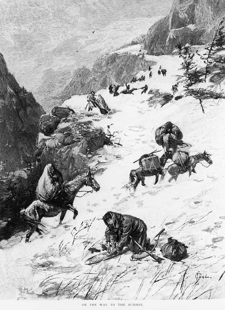 The Donner Party trying to summit the Sierra Nevadas