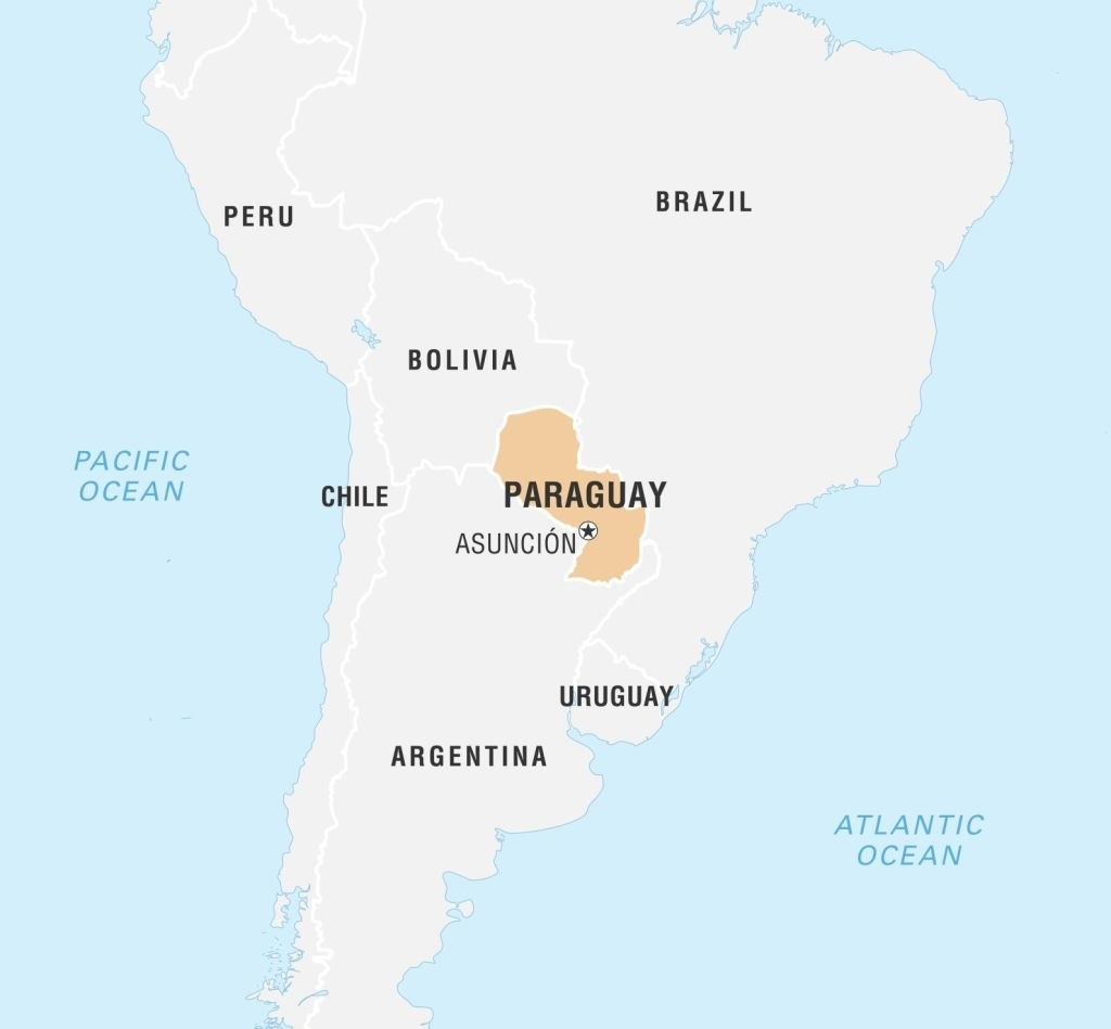 A map of South America, with the landlocked Paraguay highlighted