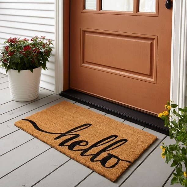 """""""Hello"""" doormat in front of a brown front door, with potted plants next to it."""