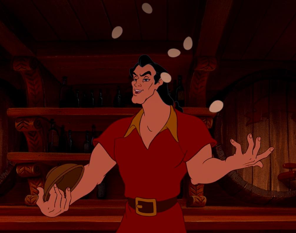 Gaston juggling eggs in his tavern