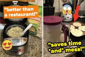 A split thumbnail of a rice cooker and a pancake batter dispenser