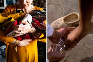 A woman is holding shoes on the left with a glass slipper being put on Cinderella on the right