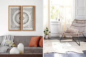 two framed artworks over a couch; a faux hide area rug