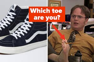 """A pair of Vans are on the left with Dwight holding his foot up labeled, """"Which toe are you?"""""""