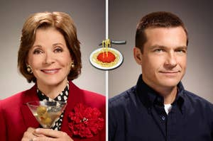 lucille bluth on the left and michael bluth on the right with a spaghetti emoji in between
