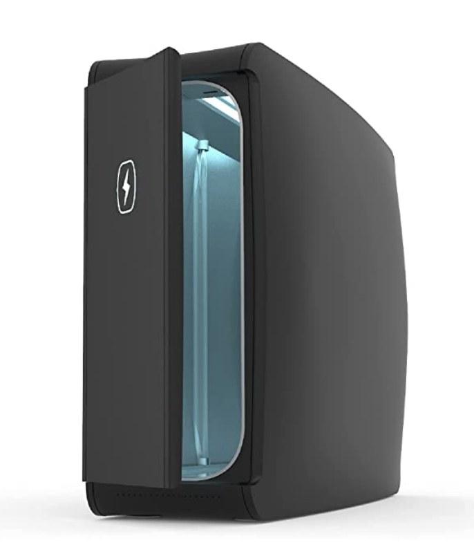 A black UV-powered sanitizing box