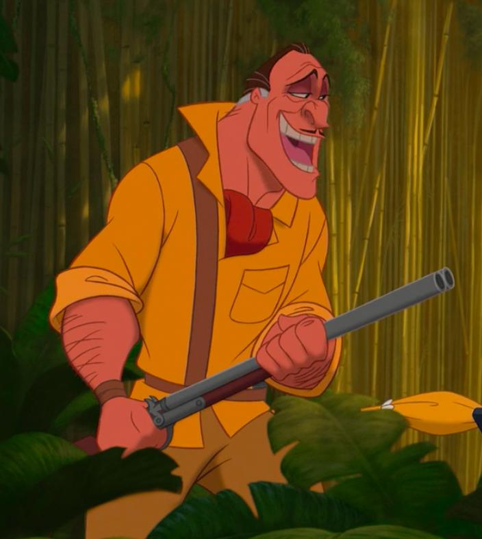a hunter with a shotgun escorts Jane into the jungle