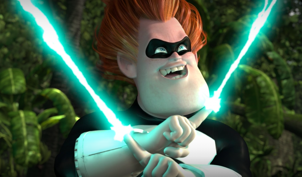 Syndrome traps the Incredibles in a laser beam