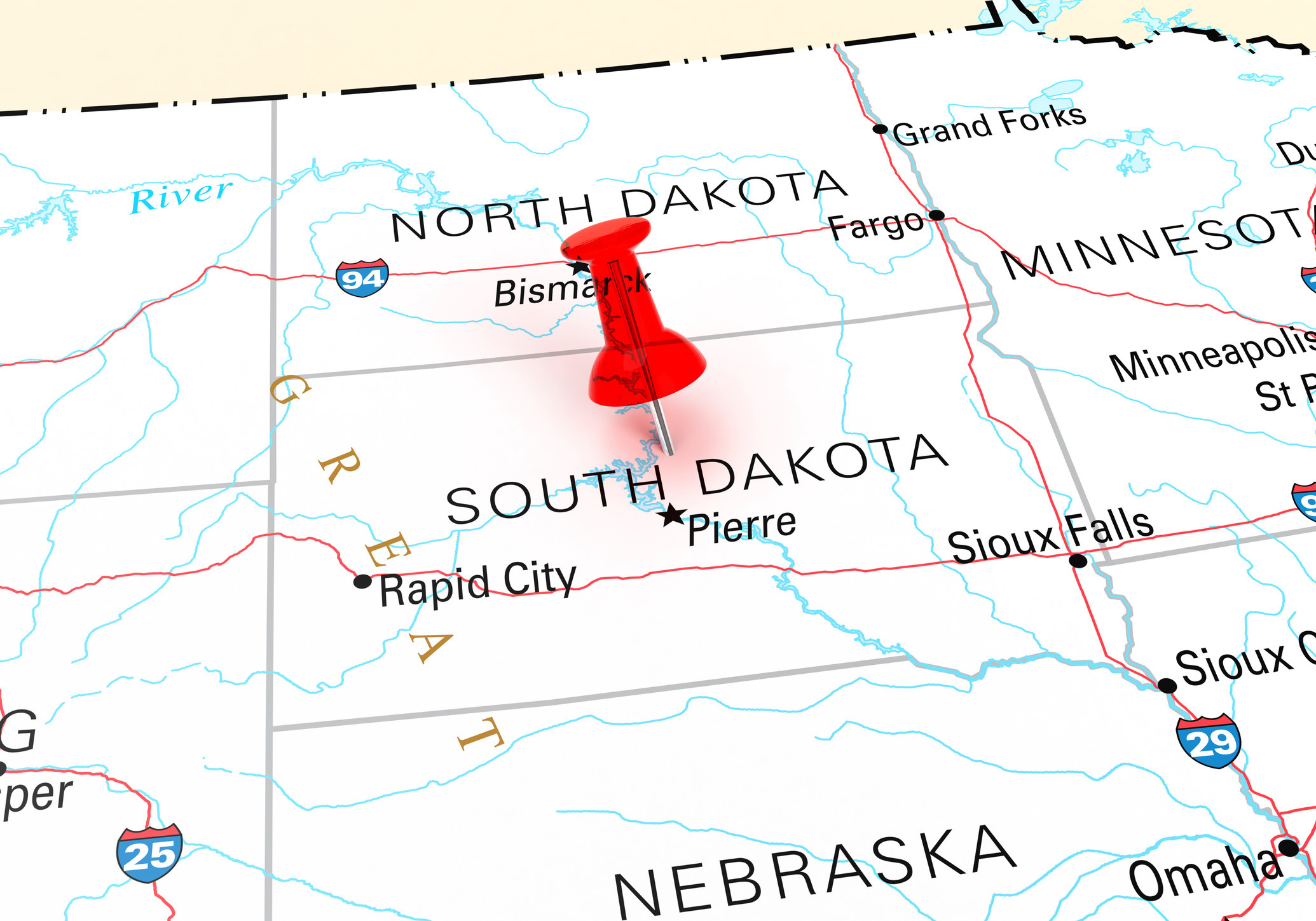A map of the Dakotas
