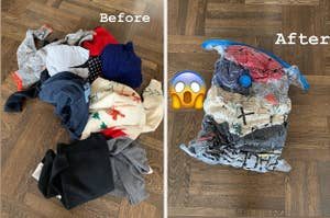L: large pile of bulky clothes R: the same clothes neatly stored and condensed in vacuum storage bags