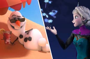 """Olaf the snowman lays on a beach with a drink in his hand and Elsa from """"Frozen"""" creates snowflakes in her hand using magic"""