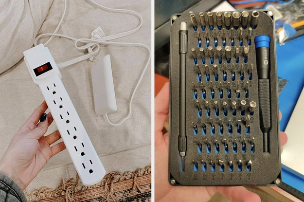 to the left: a thin outlet, to the right: tools to fix gadgets