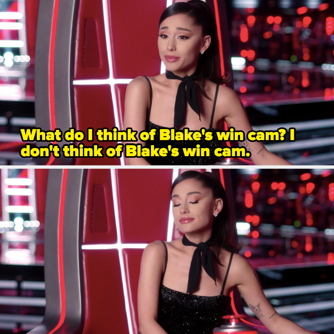 Ariana said she doesn't think of Blake's win cam